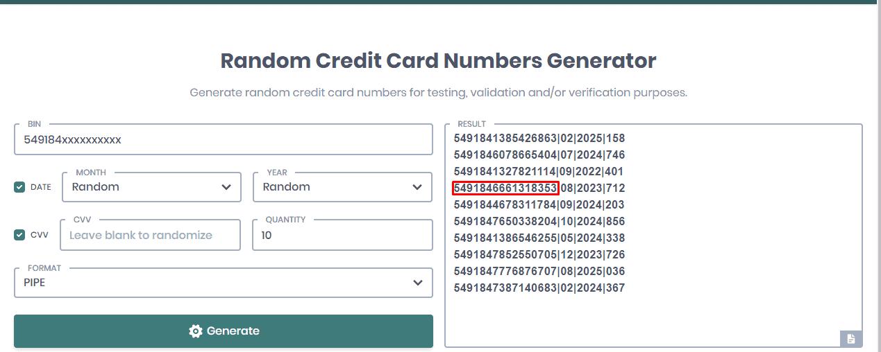 Random Credit Card Numbers Generator